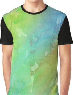 Green and Blue Watercolor Graphic T-Shirt