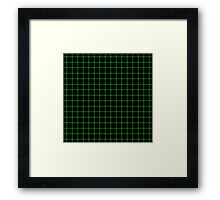Matrix Optical Illusion Grid in Black and Neon Green V2 Framed Print