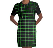 Matrix Optical Illusion Grid in Black and Neon Green V2 Graphic T-Shirt Dress