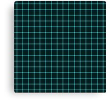 Martix Optical Illusion Grid in Black and Neon Aqua Canvas Print