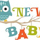 NEW BABY Cute Owl On An Tree Branch Colorful Design by artonwear