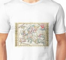Vintage Map of Europe (1706) Unisex T-Shirt