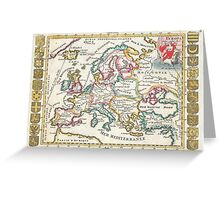 Vintage Map of Europe (1706) Greeting Card