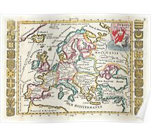 Vintage Map of Europe (1706) Poster