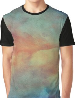 Blue, Mint and Orange Watercolor Graphic T-Shirt