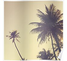 Coconut Trees Trendy Hipster Vintage Desaturated Summer Poster