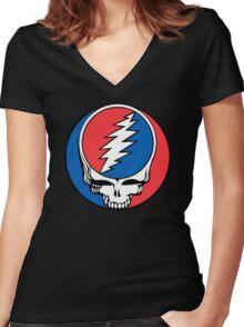 Redskins Grateful Dead Women's Fitted V-Neck T-Shirt