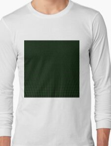Matrix Optical Illusion Perspective Grid in Black and Neon Green V3 Long Sleeve T-Shirt