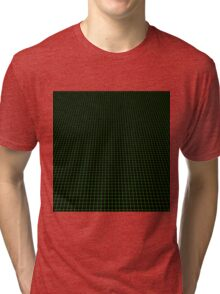 Matrix Optical Illusion Perspective Grid in Black and Neon Green V3 Tri-blend T-Shirt