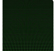 Matrix Optical Illusion Perspective Grid in Black and Neon Green V3 Photographic Print