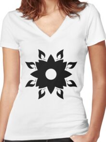 Flower & Leaf Women's Fitted V-Neck T-Shirt