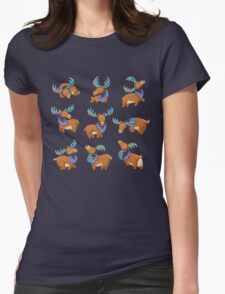 Ethnic deer with colored horns Womens Fitted T-Shirt