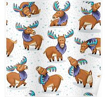 Ethnic deer with colored horns Poster