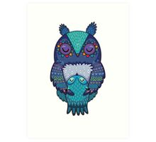 Mom and Baby Owl together Art Print