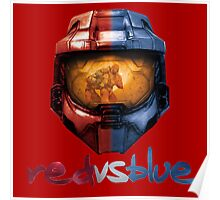 Red vs Blue Helmet with Logo Poster