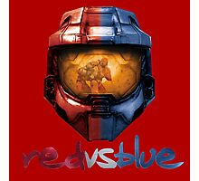 Red vs Blue Helmet with Logo Photographic Print