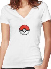 Pokemon Go Team Red Pokeball Women's Fitted V-Neck T-Shirt