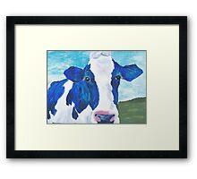 blue cow Framed Print