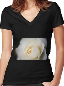 selective focus close up of a white rose flower Women's Fitted V-Neck T-Shirt