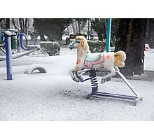 Playground in a Park During Heavy Snowfall In Winter In Bucharest, Romania Photographic Print