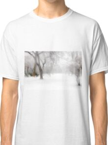 Park During Heavy Snowfall In Winter In Bucharest, Romania Classic T-Shirt