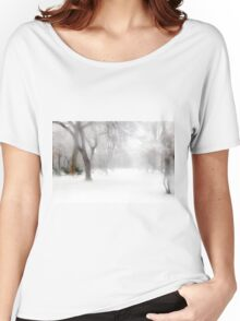 Park During Heavy Snowfall In Winter In Bucharest, Romania Women's Relaxed Fit T-Shirt