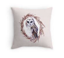 Sooty Owl Wreath on Soft Pink Throw Pillow