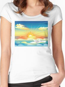 Paper Boat in the Sea 2 Women's Fitted Scoop T-Shirt