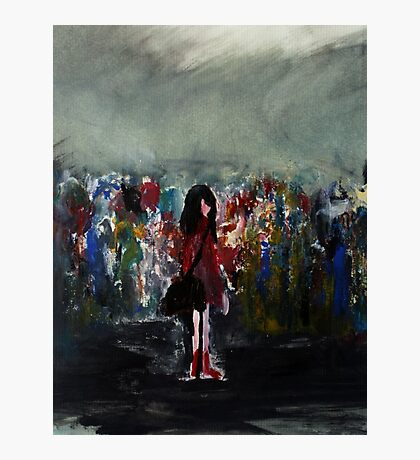 The Lost Hat Red Raincoat acrylic painting Photographic Print