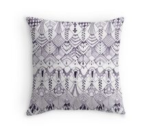 Owl Feathers in Dark Ink Throw Pillow