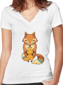 Mom and Baby Fox together Women's Fitted V-Neck T-Shirt