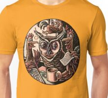 Tired Owl and Rooster Coworkers Unisex T-Shirt