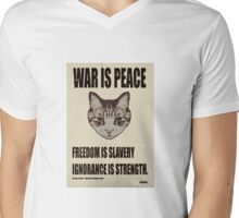 Orwellian Cat Says War Is Peace Mens V-Neck T-Shirt