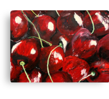 Cherries Kitchen Decor Fruit Red Acrylic Contemporary Painting Canvas Print