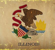 Illinois State Flag VINTAGE by carolinaswagger