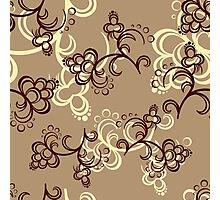 Brown Flower Pattern Photographic Print