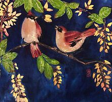 Chubby birds in the moonlight by Rosalind Clarke