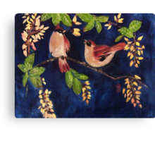 Chubby birds in the moonlight Canvas Print