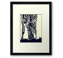 """Zebra"" Pen, Ink, & Black Paint on Gesso Framed Print"