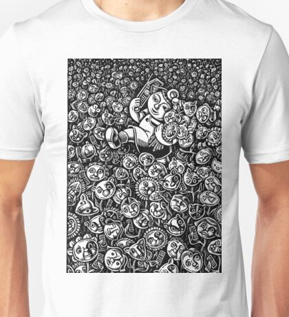 Girl in Field of Friendly Flowers Chatting on Phone Unisex T-Shirt