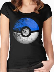 Destroyed Pokemon Go Team Blue Pokeball Women's Fitted Scoop T-Shirt