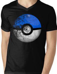Destroyed Pokemon Go Team Blue Pokeball Mens V-Neck T-Shirt