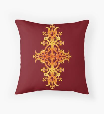 Ethiopian Cross 3. Red and Gold Throw Pillow
