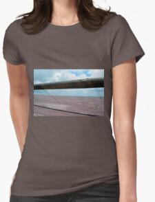 Detail of wooden table against the sky. Womens Fitted T-Shirt