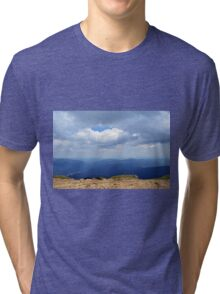 Natural scenery with mountain view and cloudy sky. Tri-blend T-Shirt