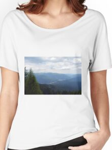 Natural scenery with mountain view and cloudy sky. Women's Relaxed Fit T-Shirt