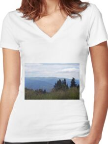 Natural scenery with mountain view and cloudy sky. Women's Fitted V-Neck T-Shirt