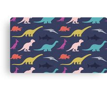 Dinosaurs silhouettes Canvas Print