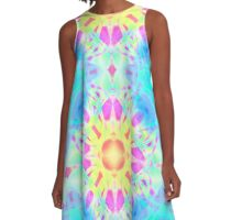 Abstract psychedelic pattern yellow pink blue A-Line Dress