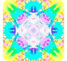 Abstract psychedelic pattern blue yellow Photographic Print